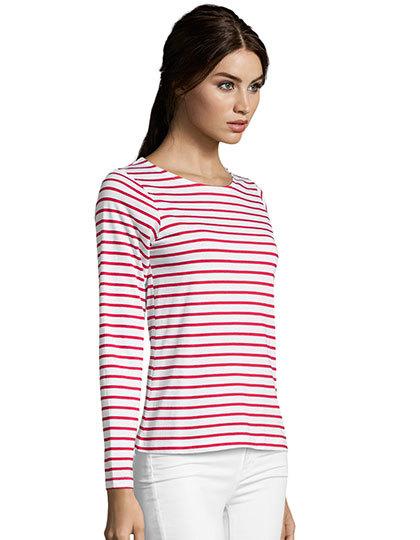 8af0e3be981cf2 Women`s Long Sleeve Striped T-Shirt Marine